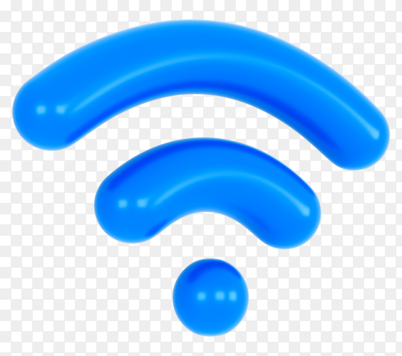 Blue wifi icon on transparent background PNG
