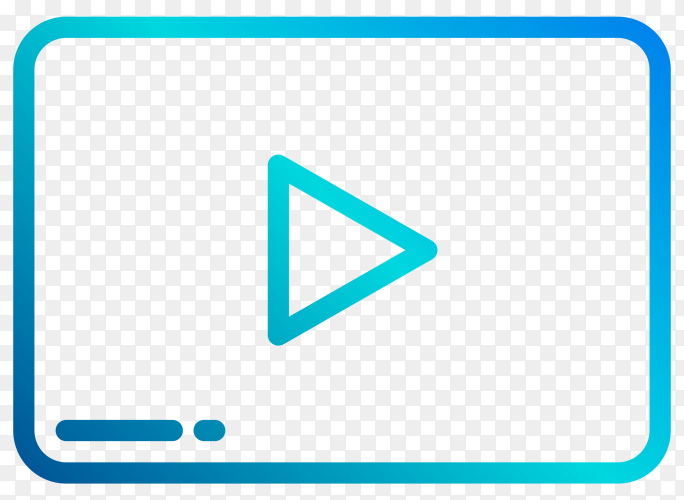 Blue YouTube player icon illustration on transparent background PNG