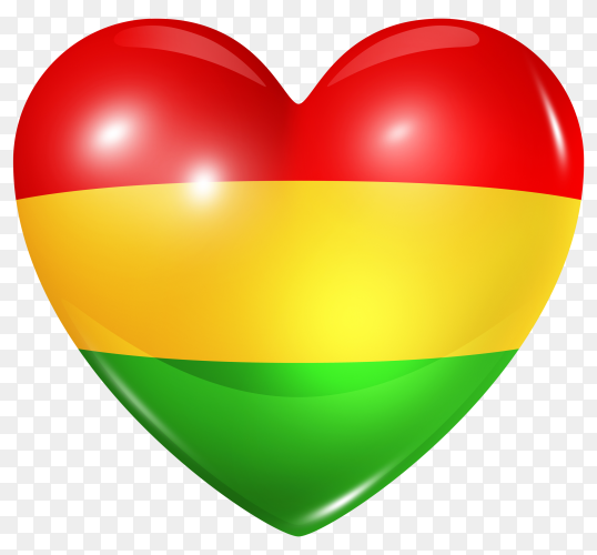 Bolivia flag in heart shape on transparent background PNG