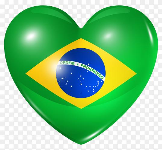 Brazil flag in heart shape on transparent background PNG