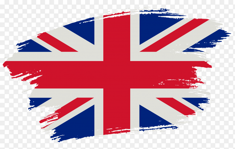 Brush stroke flag of united kingdom on transparent background PNG
