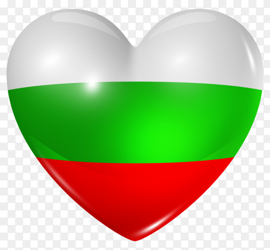 Bulgaria flag in heart shape on transparent background PNG