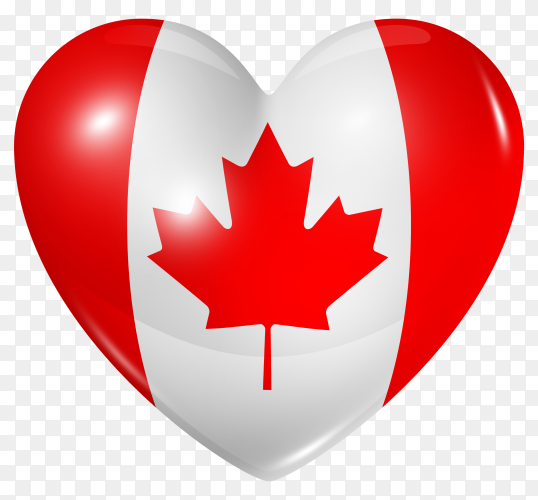 Canada flag in heart shape on transparent background PNG