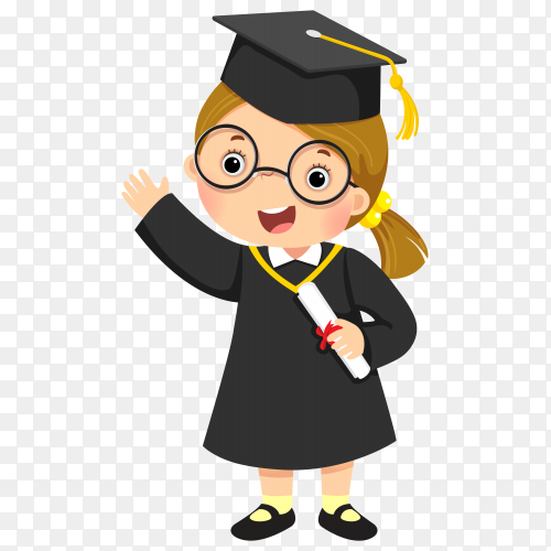 Cartoon Happy Girl Graduation illustration on transparent background PNG