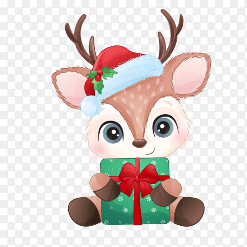 Cartoon deer wishing merry christmas on transparent background PNG