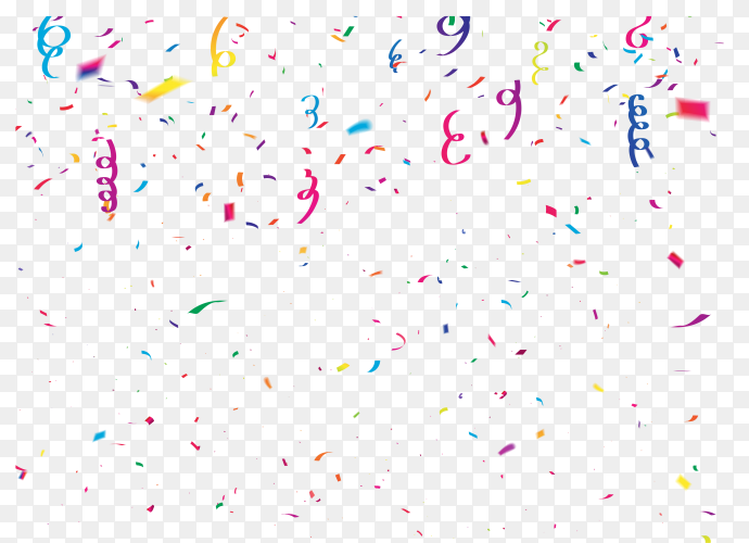 Celebration confetti colorful ribbons on transparent PNG