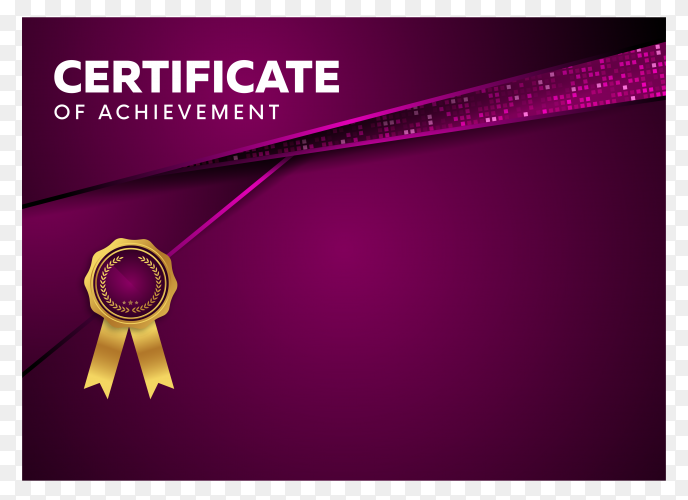 Certificate design template with modern shapes on transparent background PNG
