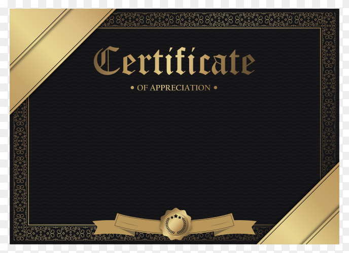 Certificate of appreciation template with gold border on transparent background PNG