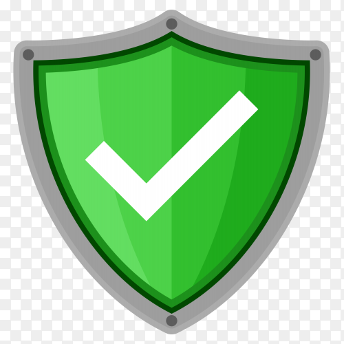 Check mark shield in flat style on transparent background PNG