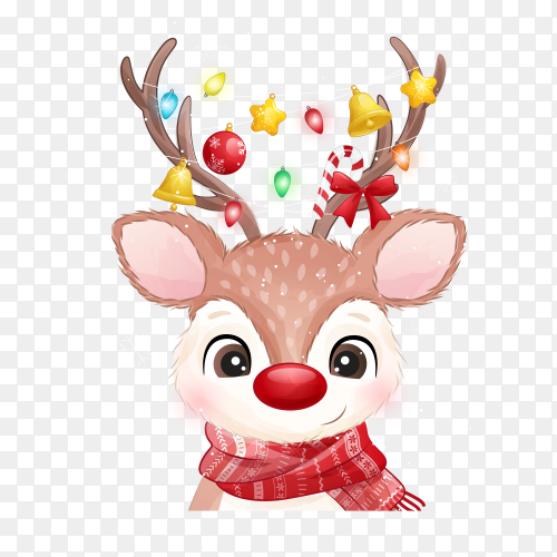 Cheerful deer celebrating christmas on transparent background PNG