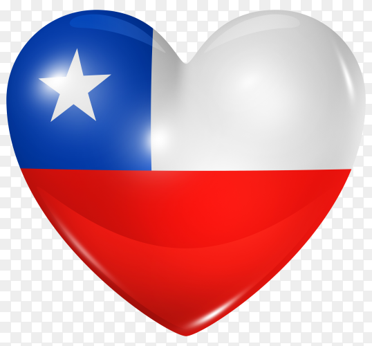 Chile flag in heart shape on transparent background PNG