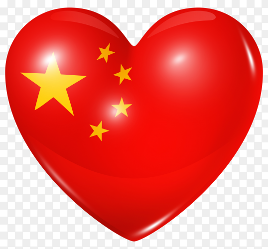 China flag in heart shape on transparent background PNG