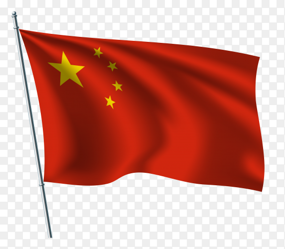 China waving flags illustration on transparent background PNG