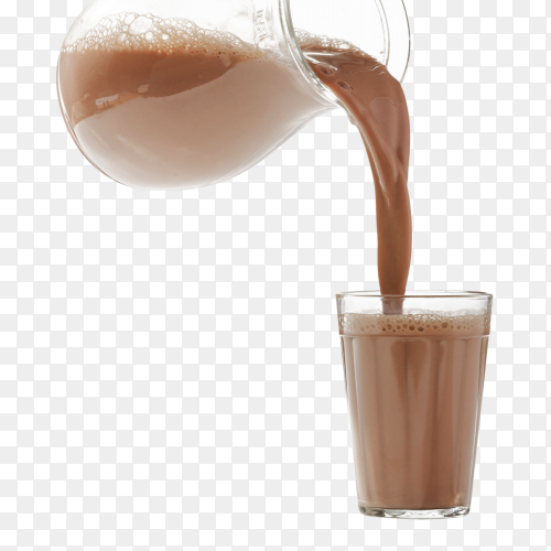Chocolate Milk is poured into a glass cup on transparent background PNG