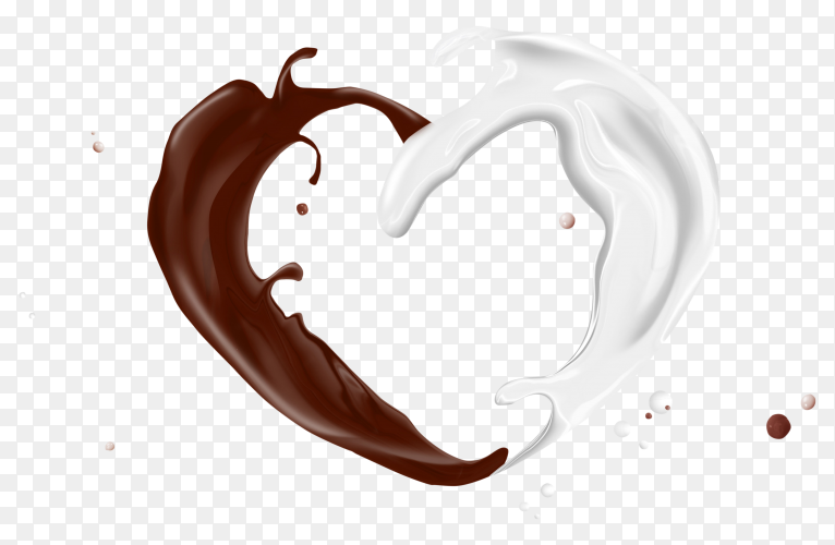Chocolate and mlik splash on transparent background PNG