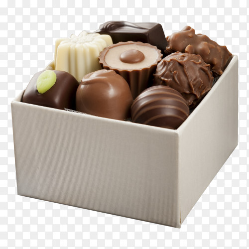 Chocolate candies in box on transparent background PNG