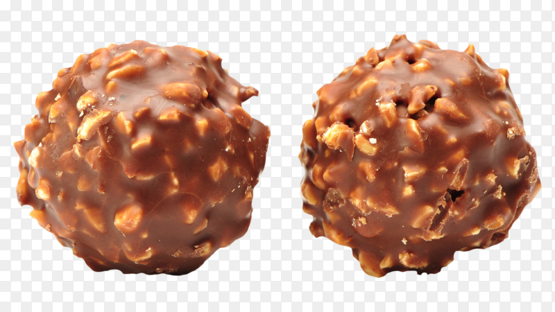 Chocolate candy balls on transparent background PNG