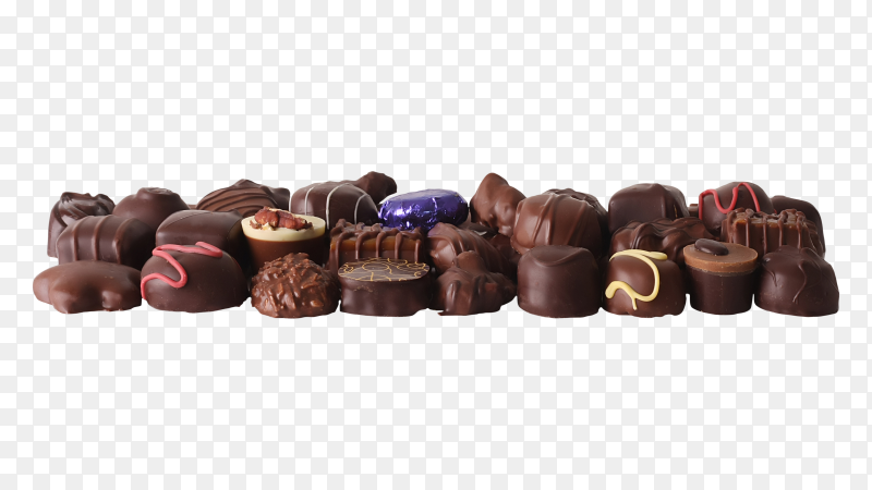 Chocolate candy variety on transparent background PNG