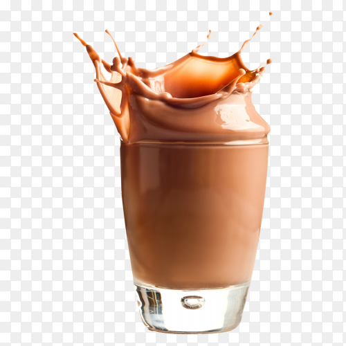 Chocolate milk drink splash and twist into glass on transparent background PNG