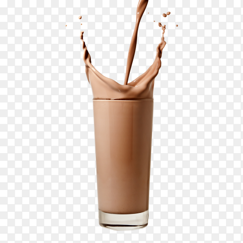 Chocolate milk flowing into a glass on transparent background PNG