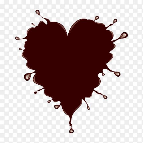 Chocolate splash heart shape on transparent background PNG