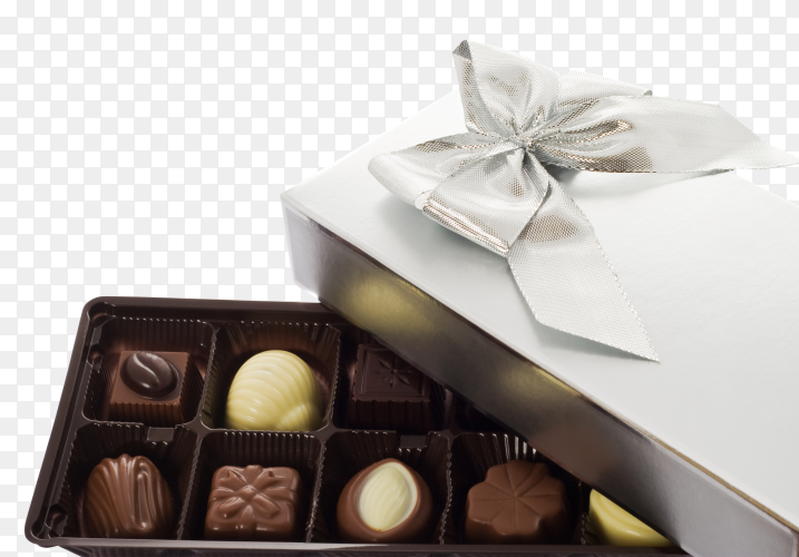 Chocolate sweets in the box on transparent background PNG