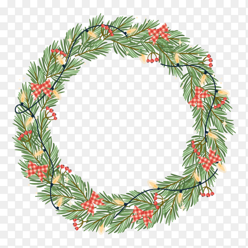 Christmas fir wreath on transparent background PNG