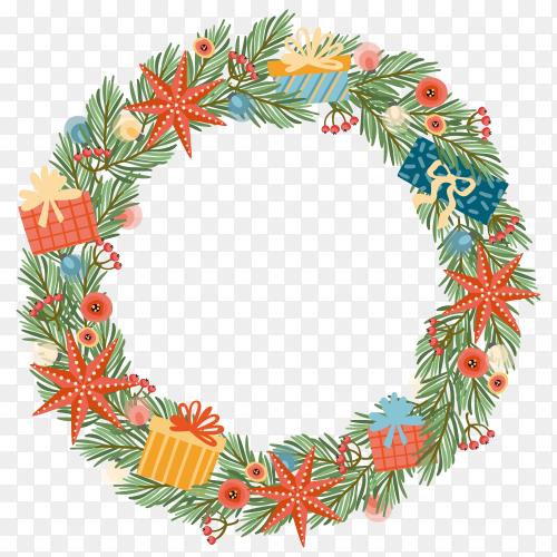 Christmas fir wreath premium vector PNG