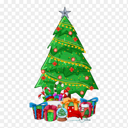 Christmas tree decorated with colorful balls and gifts on transparent background PNG
