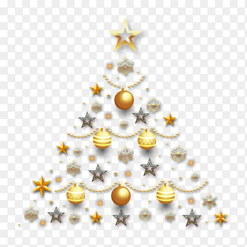 Christmas tree made of golden decoration on transparent background PNG