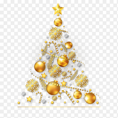 Christmas tree made of realistic golden decoration on transparent PNG