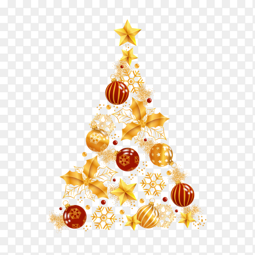 Christmas tree made of realistic golden decoration on transparent background PNG