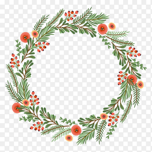 Christmas wreath design on transparent background PNG
