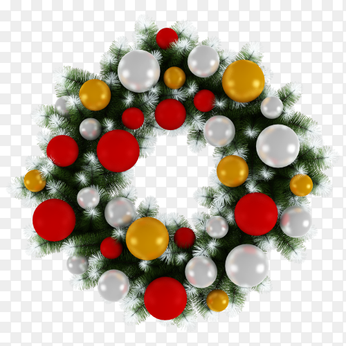 Christmas wreath illustration clipart PNG