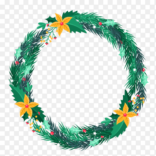 Christmas wreath in flat design on transparent PNG