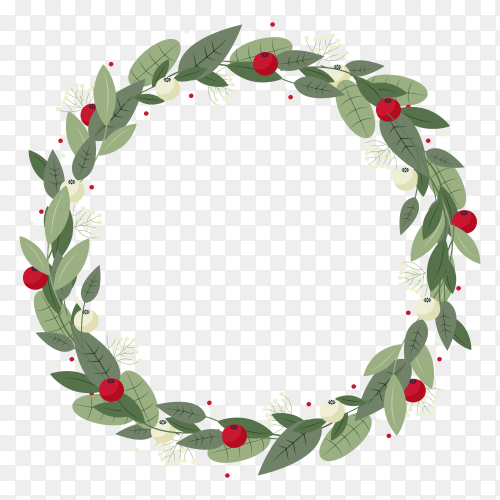 Christmas wreath isolated clipart PNG