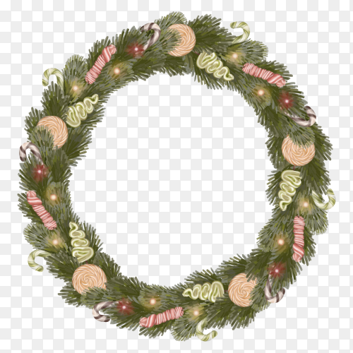 Christmas wreath with candies and pine leaves on transparent background PNG
