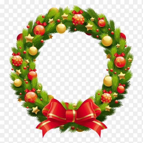 Christmas wreath with decor on transparent background PNG