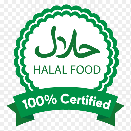 Classic green halal label with flat design on transparent background PNG