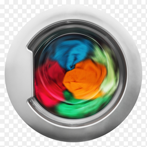 Clothing drying in washing machine on transparent background PNG