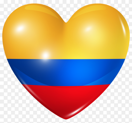 Colombia flag in heart shape on transparent background PNG