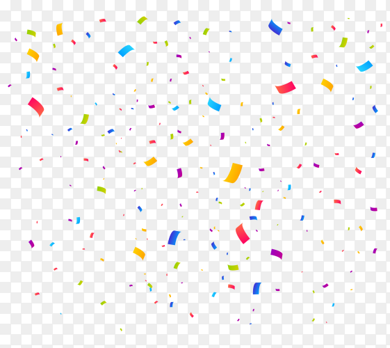 Colorful bright confetti pieces isolated on transparent background PNG