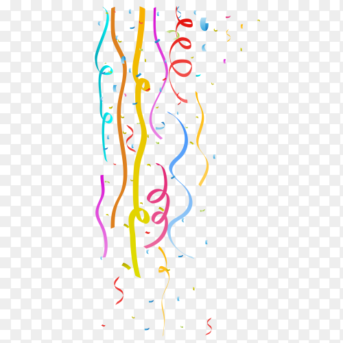 Colorful celebration ribbon with confetti on transparent background PNG