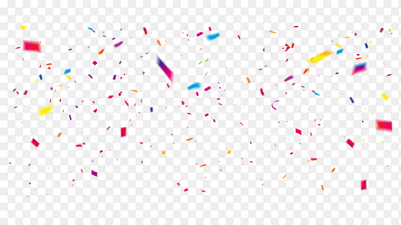 Colorful confetti celebration on transparent background PNG