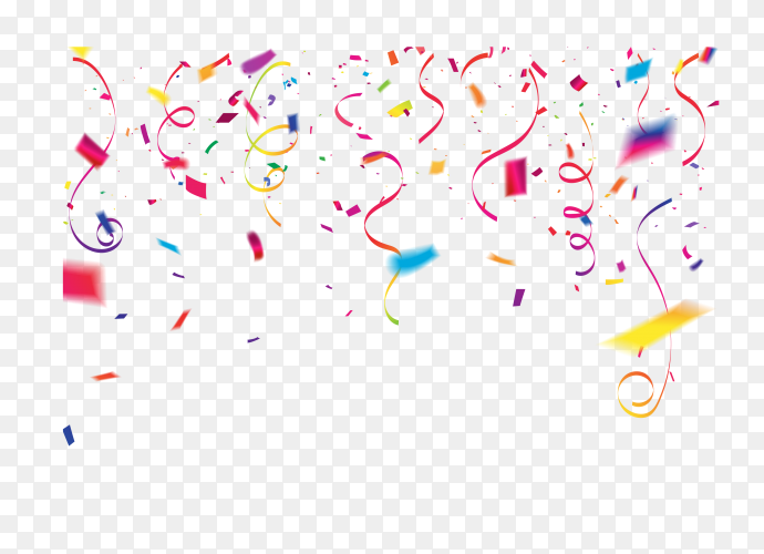 Colorful confetti celebratory design on transparent background PNG