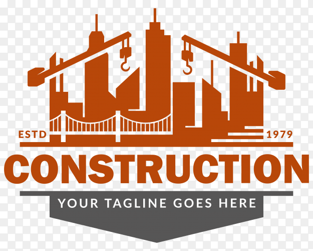 Construction logo design illustration on transparent background PNG
