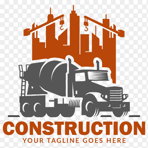 Construction logo design on transparent PNG