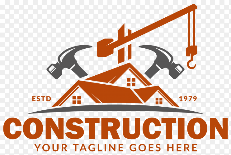 Construction logo design on transparent background PNG