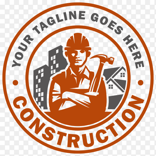 Construction logo isolated on transparent background PNG