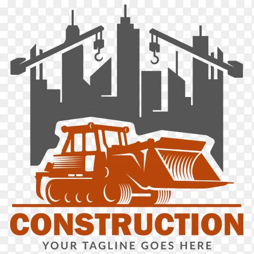 Construction logo on flat design on transparent background PNG